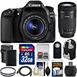 Canon EOS 80D Wi-Fi Digital SLR Camera & EF-S 18-55mm IS STM with 55-250mm IS STM Lens + 32GB Card + Battery & Charger + Backpack + Kit