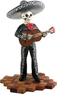Skeleton Skull Black Mariachi Band Guitar Figurine Collectible