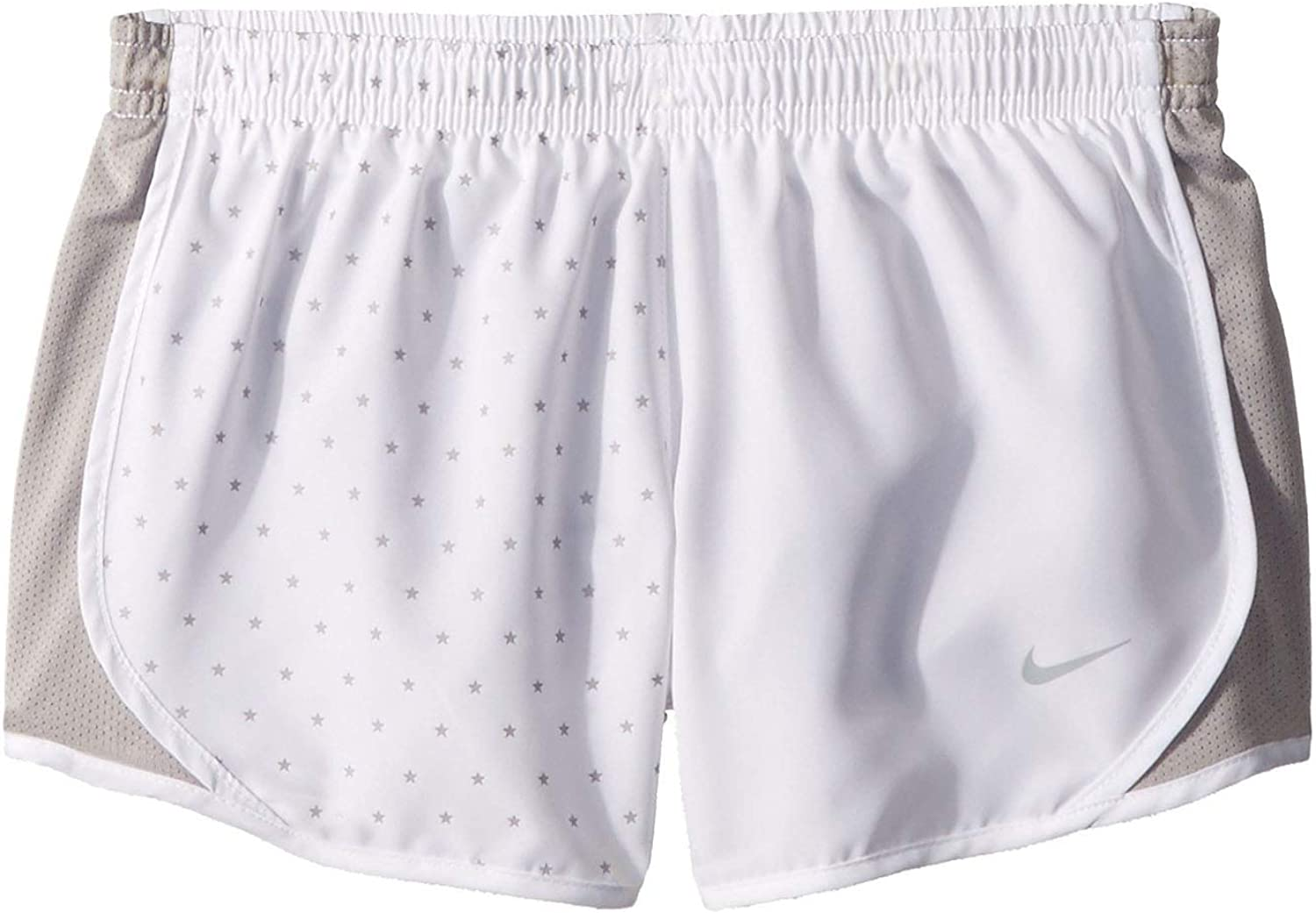 Nike Girl`s Dri-FIT Running Shorts (White(AR0409-100)/Cool Grey, X-Large)