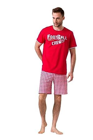 Envie Pijama de Hombre Football con Pantalones Cortos, Rojo/Rojo, XXL