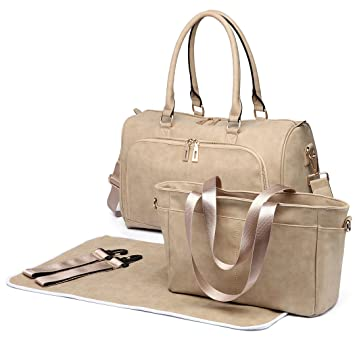 1506028986e33 Amazon.com : Miss Lulu Diaper Bag Nappy Bags for Baby Care Maternity  Changing Shoulder Handbag PU Leather Large Tote 3 Piece (6638 Beige) : Baby