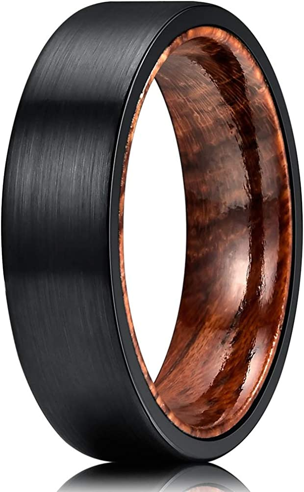 THREE KEYS JEWELRY 6mm 8mm Mens Tungsten/Carbon Fiber/Titanium Wedding Ring Black Brushed with Zebra Wood Rosewood Inner Band