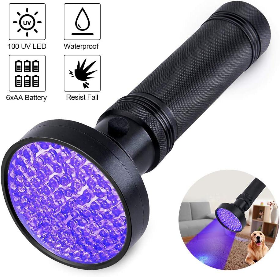 UV Black Light Flashlight,Super Bright 100 LED Portable Blacklight Ultraviolet Detector Flashlight for pet Urine, Home & Hotel Inspection,Scorpions
