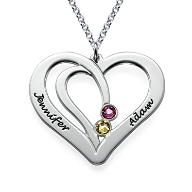 Custom Jewellery Necklace Private Personlised Name Engraved Birthstone Pendant v03LQB2so