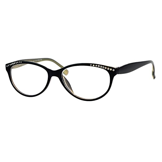 b0d095e5ab Womens Magnified Reading Glasses Rhinestones Oval Cateye Black Gold +1.00