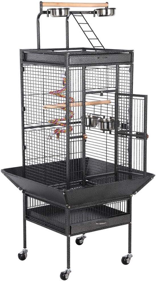 Yaheetech Jaula para Pájaros Jaulas Grandes para Canarios Loros Jaula Metal Grande 64 x 64 x 157 cm Negro