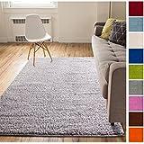 Solid Retro Modern Light Grey Shag 5x7 ( 5' x 7'2'' ) Area Rug Plain Plush Easy Care Thick Soft Plush Living Room Kids Bedroom