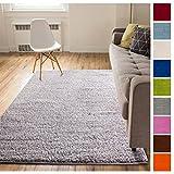Solid Retro Modern Light Grey Shag 7x10 ( 6'7'' x 9'10'' ) Area Rug Plain Plush Easy Care Thick Soft Plush Living Room Kids Bedroom