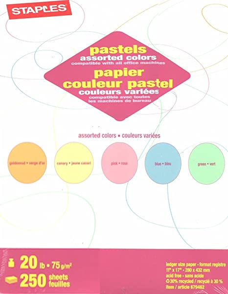 Amazon Staples Pastels Colored Copy Paper Assorted 85 X 11 Inch Letter Size 20lb Density 30 Recycled Acid Free Pink Green Gold Blue Canary