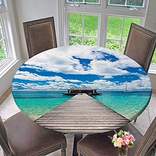 - Mikihome Modern Table Cloth Wooden Bridge Caribbean Seascape Jetty and Sailboat Cloudy Sky Blue Indoor or Outdoor Parties 47.5