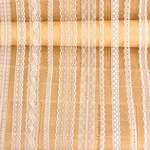 Whaline Assorted Pattern White Lace Trim Ribbon Cream Vintage for Sewing and Bridal Wedding Scalloped Decorations, 33 Yards -