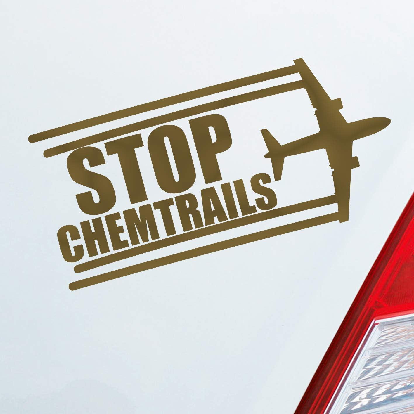 Adhesivo para el coche, avión con mensaje «Stop Chemtrails» (versión en inglés) para protesta divertida, 18, 5 x 9 cm, pegatina para el coche: Amazon.es: Coche y moto