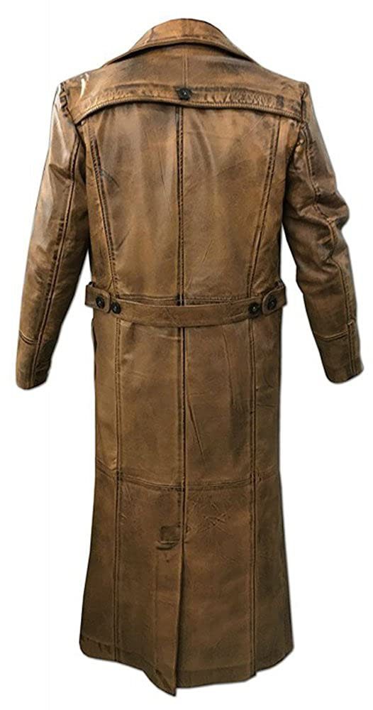Knee Length Original Leather Movie Style Trench Coat Long Brown Vintage Distress