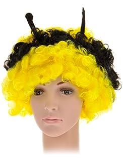 Perücke Damen Herren Verrückt Wild Locken Volumen Gelb Schwarz Hälften Biene Fan