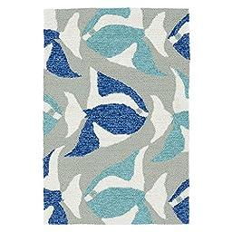 Coastal Indoor/Outdoor Beachcomber Seafish Blue Rug (2\' x 3\')