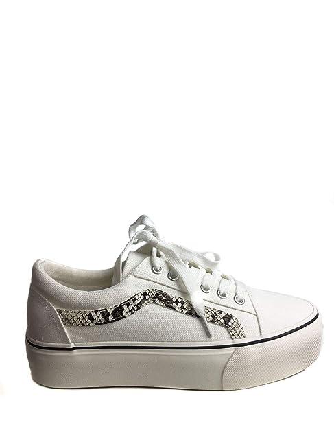Uissos Bamba De Chica Plataforma Uissos Color Blanco con Rayas Leopardo Suela Cómoda Estilo Casual Zapatilla