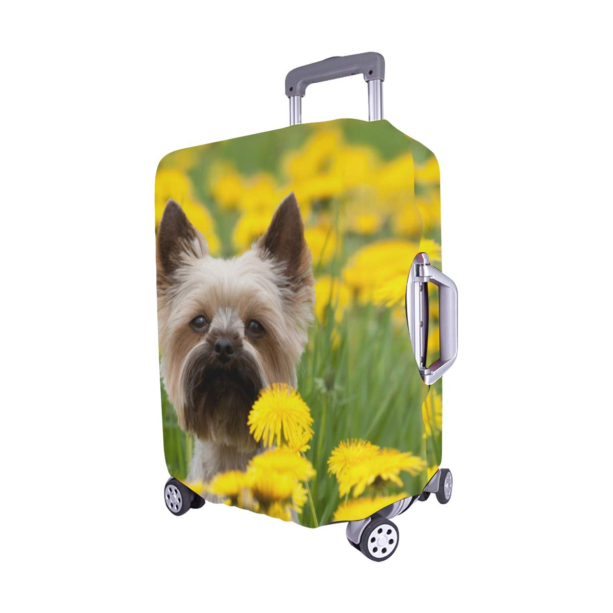 Dog in The Beautiful Flower Fields Pattern Spandex Trolley Case Travel Luggage Protector Suitcase Cover 28.5 X 20.5 Inch