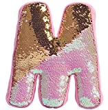 iscream Lettermania M Initial 15'' Reversible Sequin Soft Fleece Back Pillow