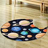 Round Area Rug Art Solar System with Planets Mars Mercury Uranus Jupiter Venus Print Living Dinning Room & Bedroom Rugs-Round 51''