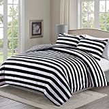 Moliy Lightweight 3pc Duvet Cover Set with 2 Pillow Shams,Microfiber,with Zipper Closure&Corner Ties,Reversible,Classic Stripe Design,Black/White Color,Hypoallergenic,Soft and Extremely Durable(King)