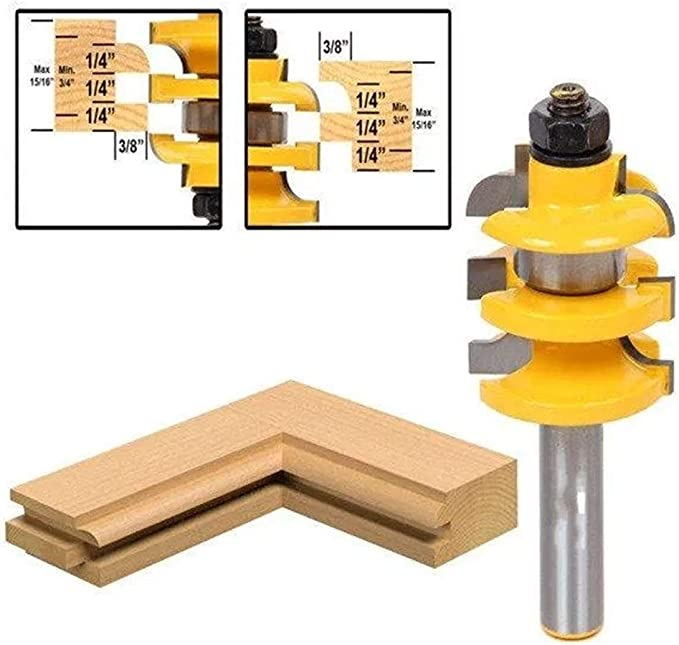 Gulakey Shank Stacked Rail and Stile Router Bit Wood Working Tool 1//2 Inch Drill Bits