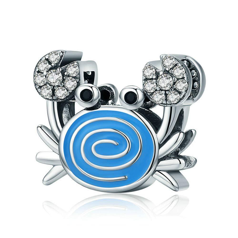 Reiko Crab 925 Argent Charms Bricolage Perles Pour Filles, Cadeau De Noël Pour Femme Fille, Coffrets Cadeaux, Sans Nickel Cadeau De Noël Pour Femme Fille