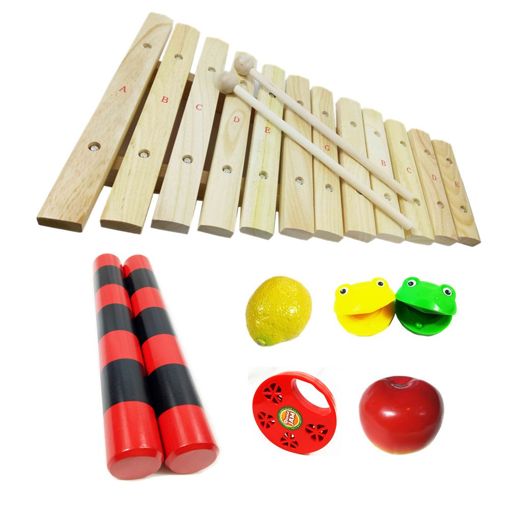 8pcs Assorted Percussion Instruments Toy for Kids- 12Note Wood Xylophone,Fruit Shakers Maracas, Castanets,Wood Rainmakers