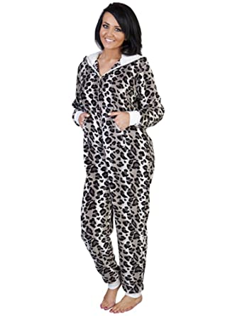 f34e5ca44c Womens Ladies Nightwear Sleepwear Leopard Print Heavy Fleece All In One  Onesies With Sherpa