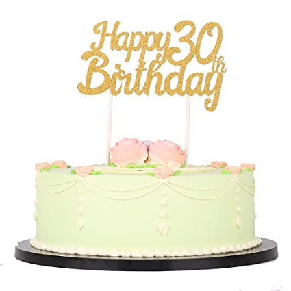 Image Unavailable Not Available For Color LXZS BH Gold Glitter Happy Birthday 30th Cake Topper