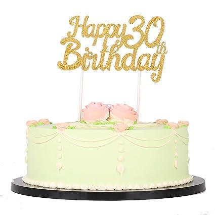 Amazon LXZS BH Gold Glitter Happy Birthday 30th Cake Topper