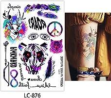 6 hojas Fake negro cuerpo cuello muñeca tatuaje temporal para las ...