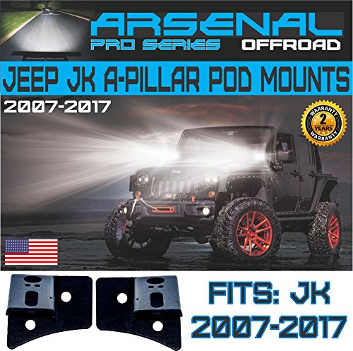 (No.1 Arsenal Offroad Jeep JK A-Pillar Windshield Hinge Mount Brackets (2 pcs) for Mounting Auxiliary Off-Road LED, HID, or Halogen Fog and Work Lights to 2007-2017 Jeep Wrangler JK)