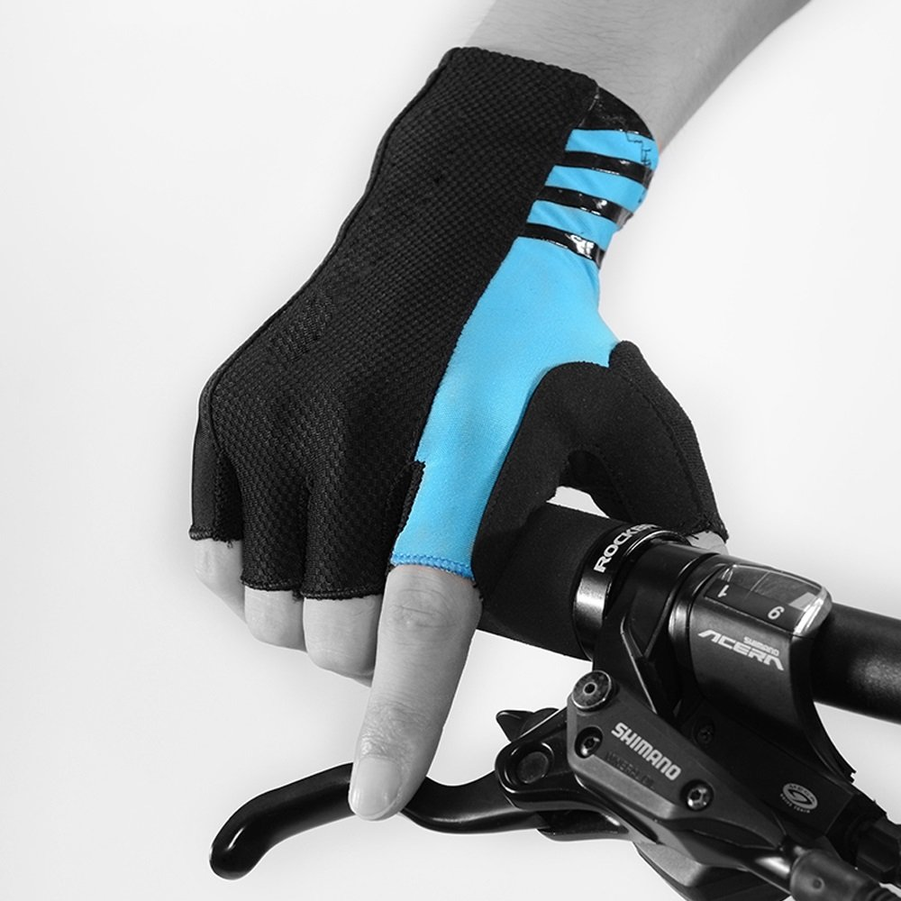 YZFGY Mountain Road Bike Bicycle Riding Gloves Half Finger Long Wrist Men and Women Summer Fitness Gloves Sport Gloves (Color : Blue, Size : XL) by YZFGY