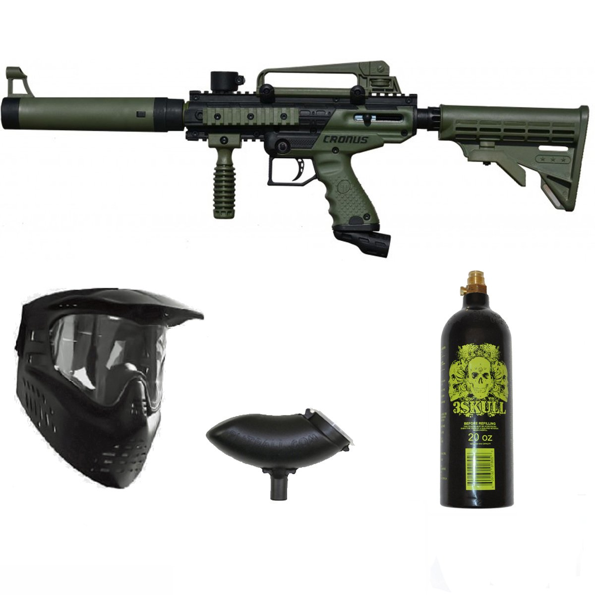 Tippmann Cronus Tactical Paintball Gun 3Skull Package Set - Olive