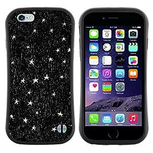 "Pulsar iFace Series Tpu silicona Carcasa Funda Case para Apple (4.7 inches!!!) iPhone 6 Plus / 6S Plus ( 5.5 ) , Estrellas pluma de tinta Arte del cielo nocturno Negro Blanco"""