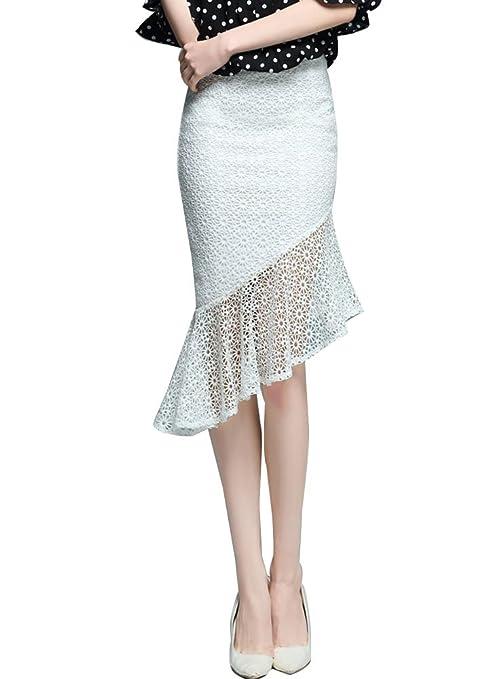 Mujer Faldas Largas De Tubo Plisada Cola De Pescado Elegante ...