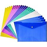 JUSLIN 24枚 クリアファイル クリアーホルダー ファイル ケース ポケット付エンベロープ ヨコ型 半透明 カラフル 書類 資料 収納 バッグ カバン (24)