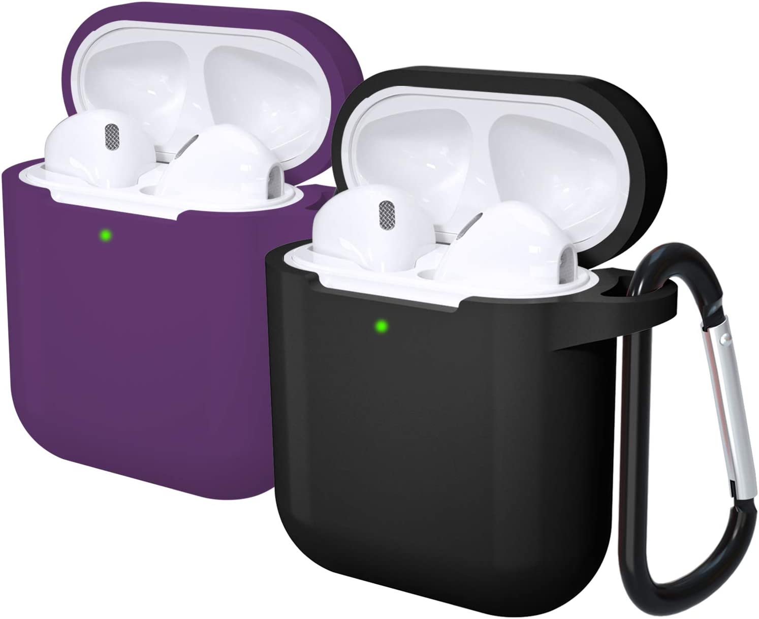Laffav Airpods Case Cover Protective AirPod Accessories Silicone Case Skin with Anti-Lost Carabiner (Front LED Visible) for Women Men Compatible with Apple AirPods 2 and 1, 2 Pack, Black, Purple