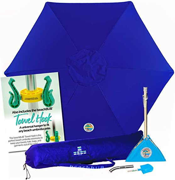 BEACHBUB All-in-One Beach Umbrella System. Includes 7 50 UPF Umbrella, Oversize Bag, Base Accessory Kit