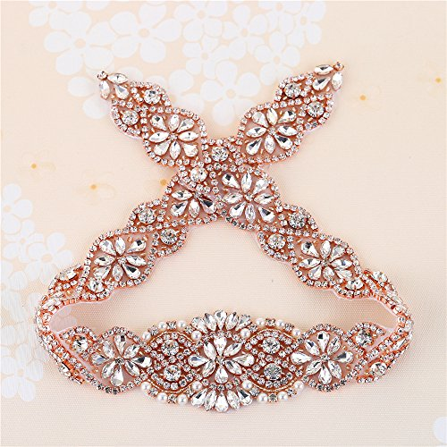 Bridal Sashes Appliques Rose Gold with Crystal Rhinestone Beaded Embellishment Handmade for DIY Wedding Dress Women Belts …