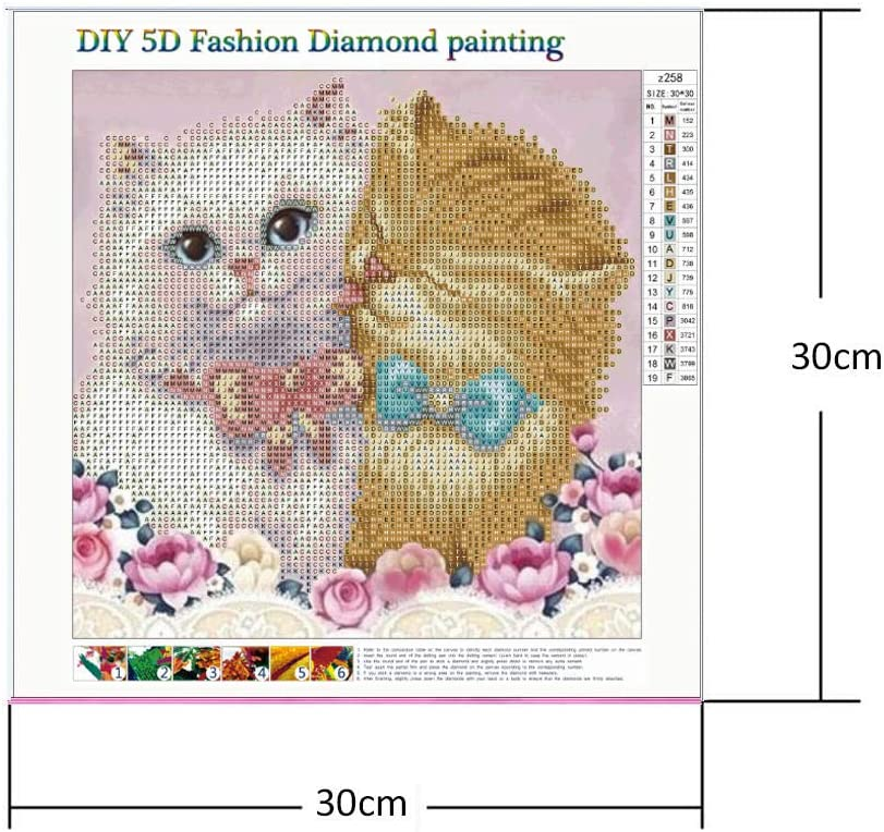 5D DIY Square Drill Diamond Painting Two Love Cats Embroidery Cross Stitch Diamond Art Childrens Intellectual Games Enhance Hands-on Ability
