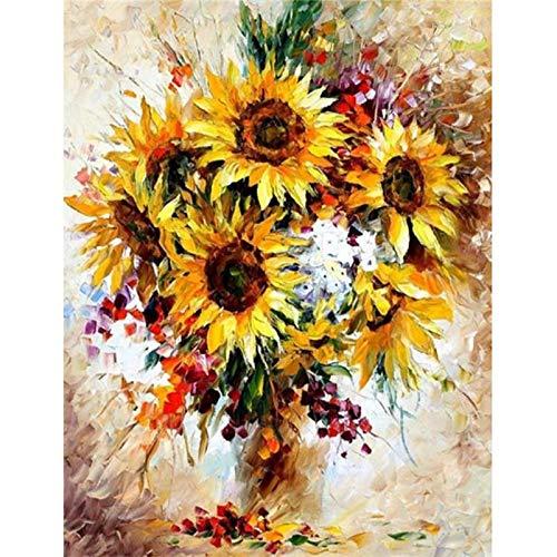 KYKDY Diy con cornice pittura a olio by numbers fiori immagini su tela pittura per soggiorno wall art home decor q1251,40x50 cm diy cornice, c006