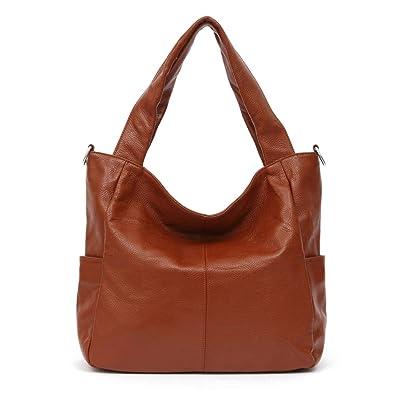 Amazon.com  100% Soft Genuine Real Leather Vintage Women Shoulder Bag  Handbag Lady Crossbody Messenger Purse Satchel Tote Bags Coffee Black Color  Brown  ... 27731871d9b99