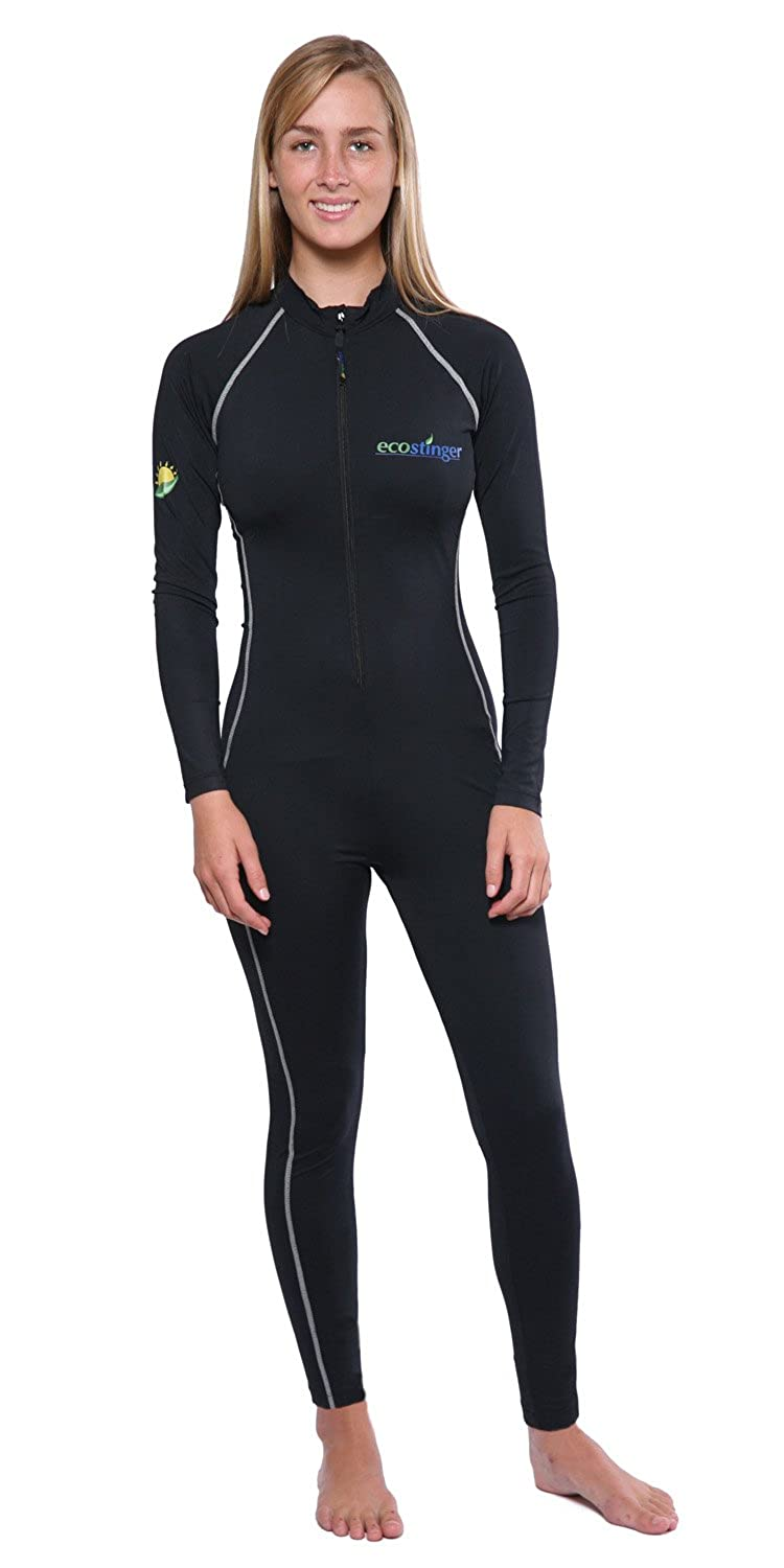 Women's Sun Protection Full Body Swimsuit Stinger Suit Dive Skin UPF50+ Black Silver Stitch 1250660-$P