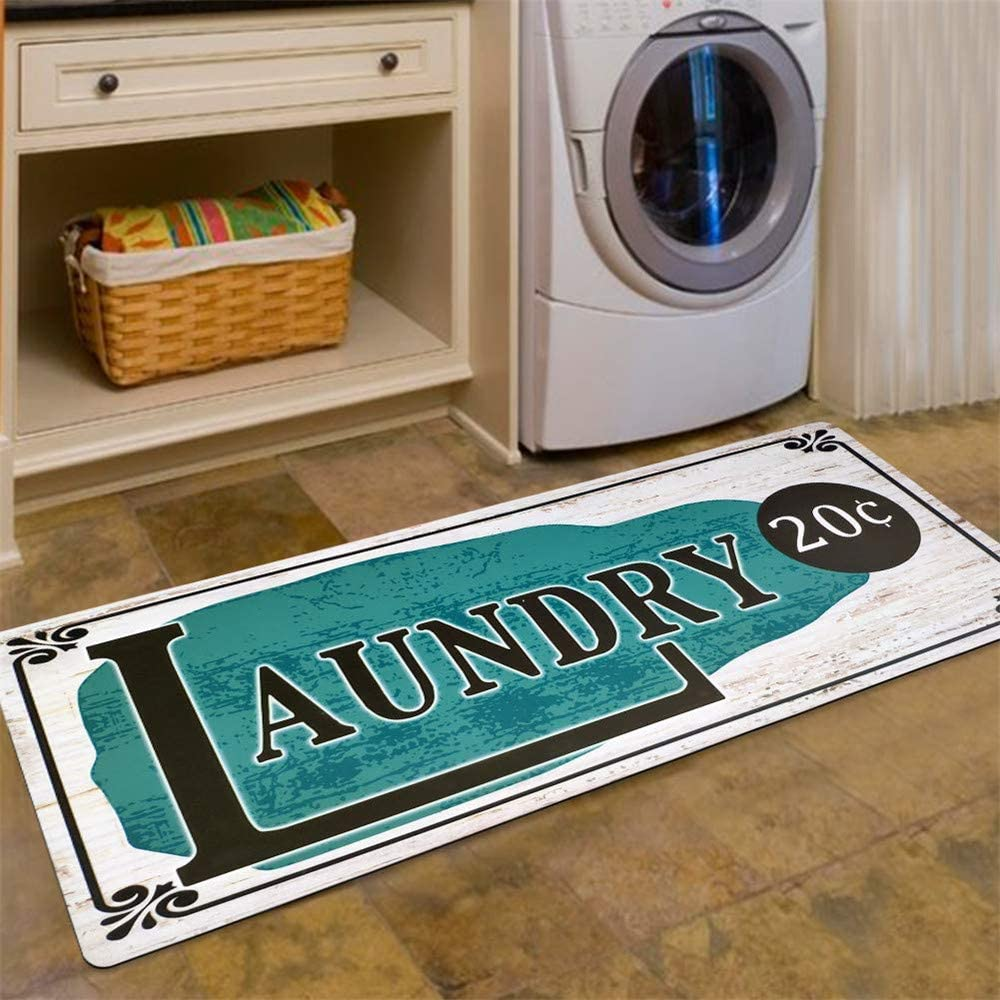 Abreeze Vintage Floor Mat for Washroom Non Skid Floormat Waterproof Bathroom Rugs Laundry Room Mats 20''x48'',Green