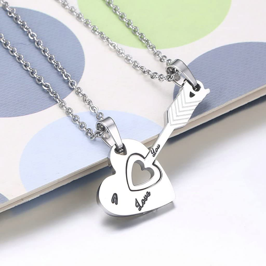 TIANYI His /& Hers Arrow Heart Matching Puzzle Stainless Steel Couples Necklace Valentines Gift
