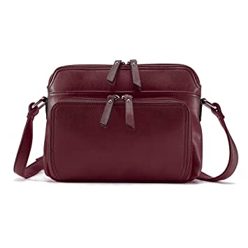 36a2e8430d30 Amazon.com  Brenice Women Solid Multi-pockets Casual PU Leather Crossbody Shoulder  Bag Red  Drseewd
