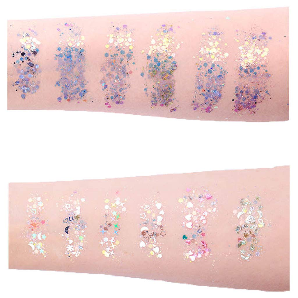 MINGLIFE 12 Boxes Makeup Face Body Glitter Set, 12 Colors Holographic Cosmetic Festival Chunky Glitter Decoration by MINGLIFE