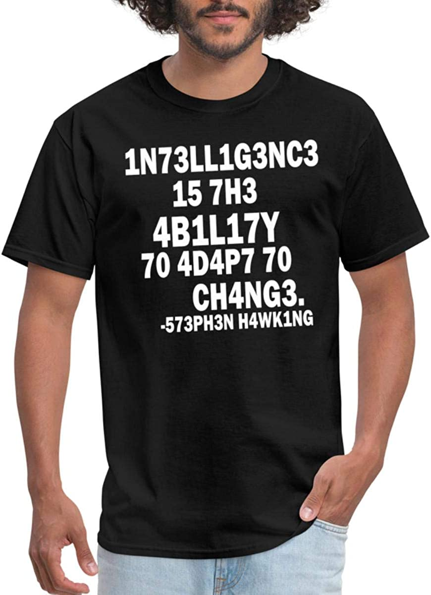Hawkings Intelligence Quote T shirt Lady Fitted White Novelty Funny Joke Tshirt