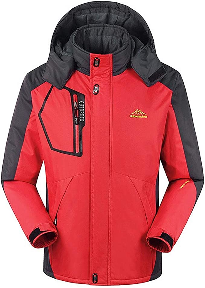 Winter Down Jacket Coat Thermal Down Parkas Velvet Jacket Outwear Waterproof Windbreaker,Red,XXL